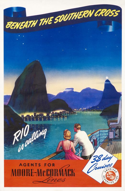 Couple on boat looking out to harbor in Rio de Janeiro and Sugarloaf mountain; blue, red
