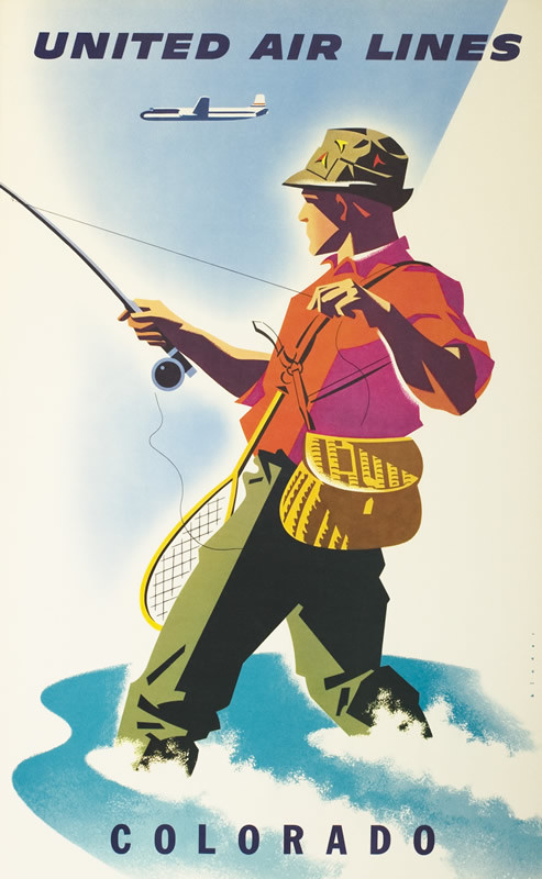 Flyfisherman wading in water, reeling in catch with fishing rod, airplane above; red, green, blue, white