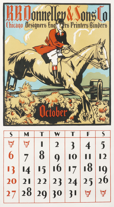Man riding horse and October calendar; beige, red, black