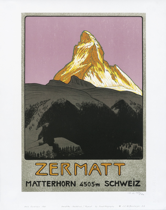 Sun-lit mountain peak at sunset; black, yellow, lilac, white