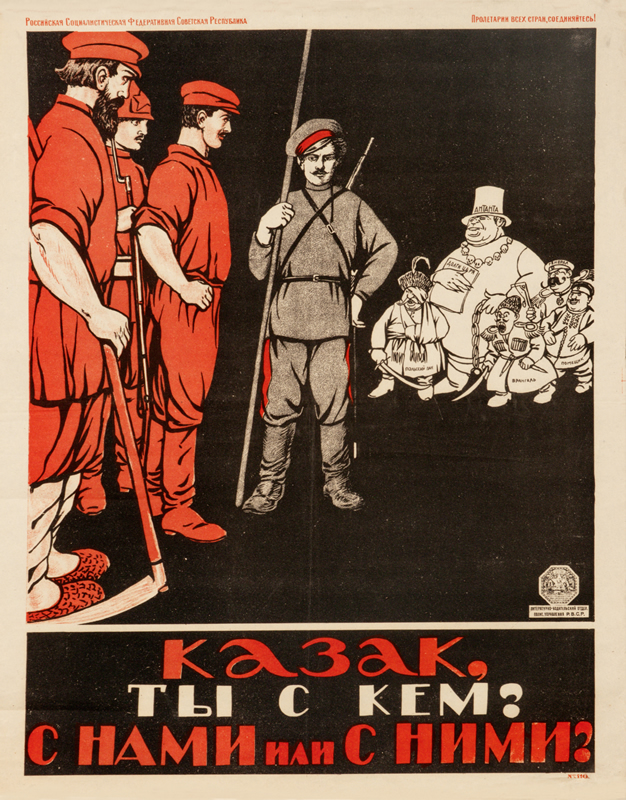 Cossack stands between Red workers and White capitalists; red, black, white