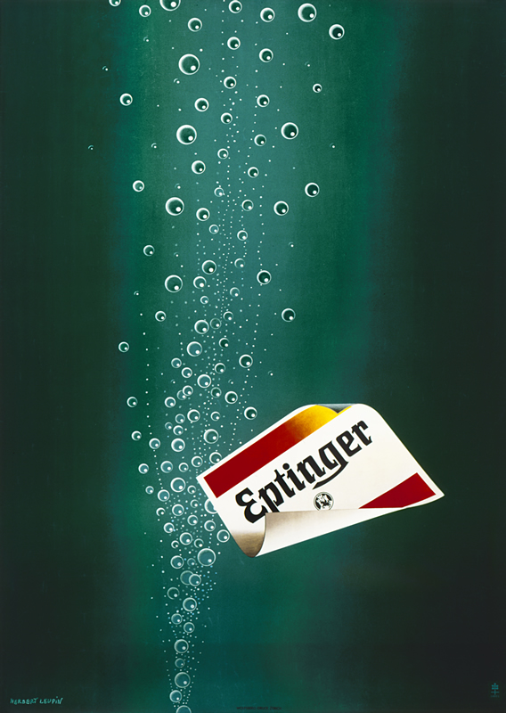 Bubbles and Eptinger label rise from water; green, white, red, yellow