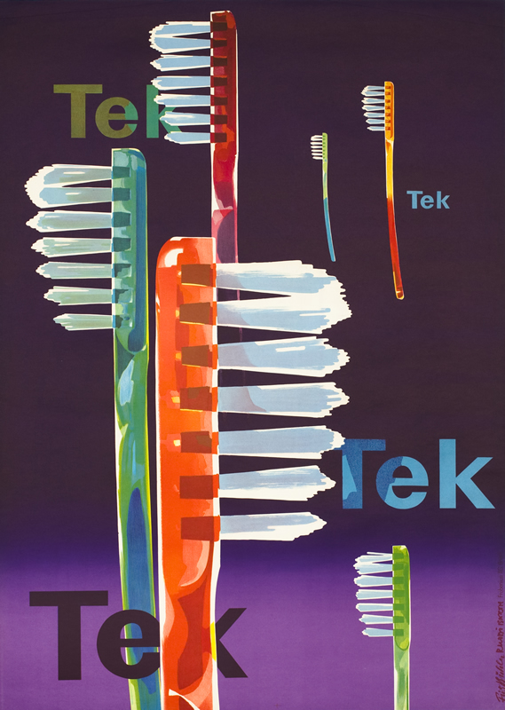 Several toothbrushes against text and background; purple, orange, green, red