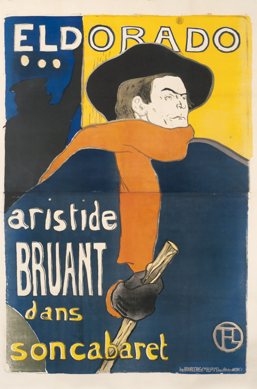 Aristide Bruant in front of theater with scarf, cap and cane; red, blue, yellow, black