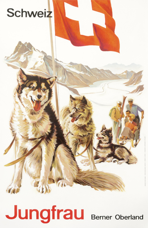 Sled huskies, Swiss flag, skiers on mountain; red, white, brown