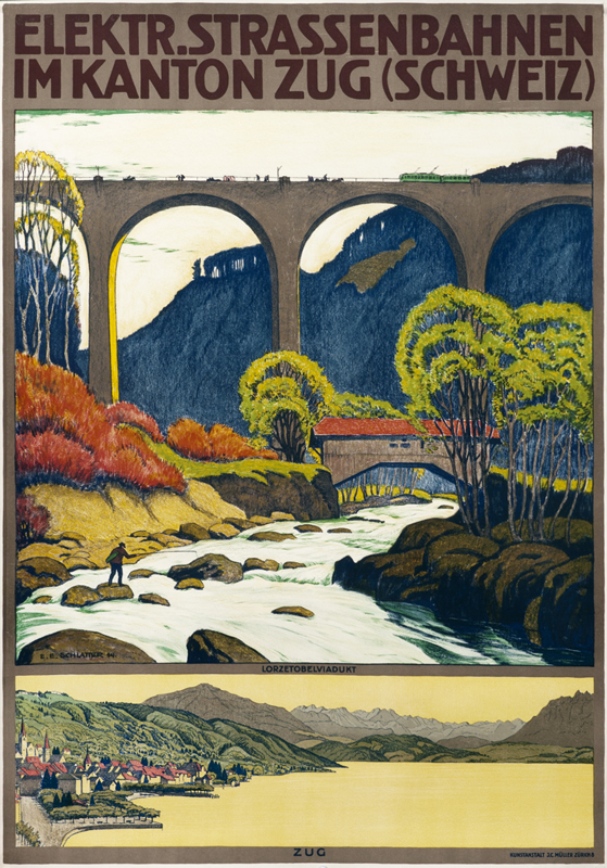 Train crosses valley and river on viaduct,  landscape below; brown, green, yellow, blue
