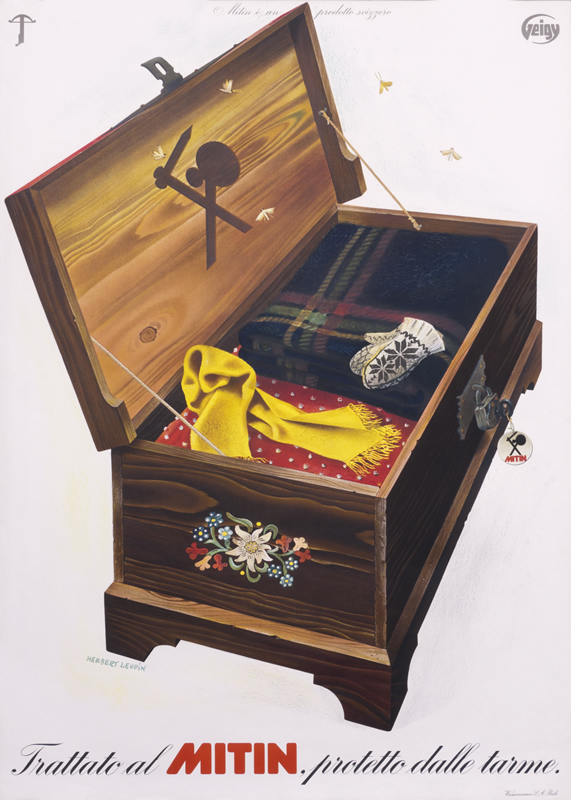 Wooden chest with stored winter clothes; brown, red, black, yellow, blue, white