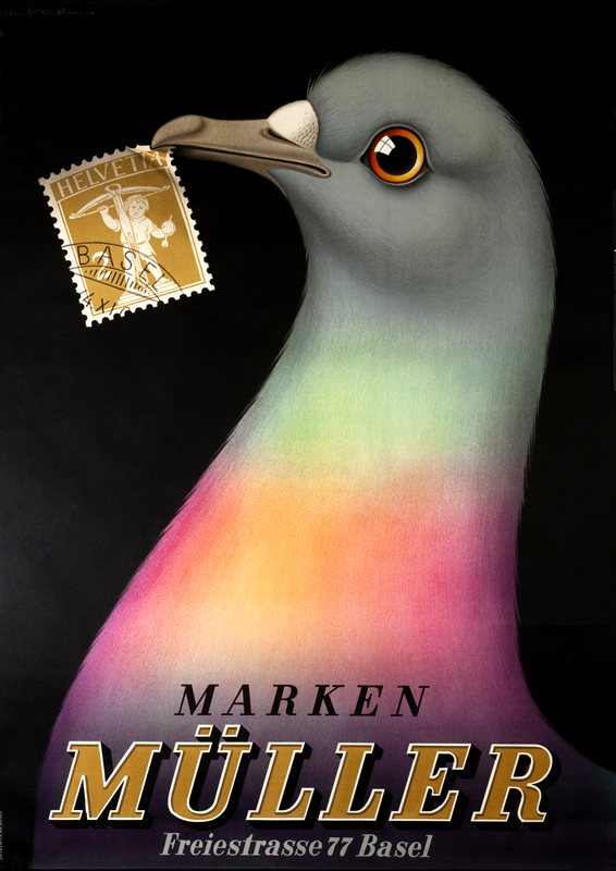 Carrier pigeon holds stamp in beak; black, pink, blue, yellow