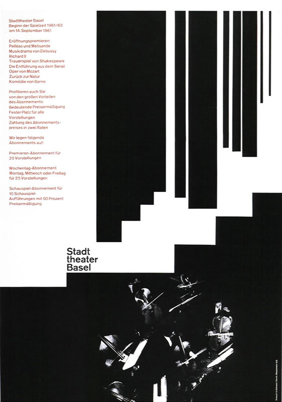 Orchestra of cello and bass plays below vertical lines; black, white