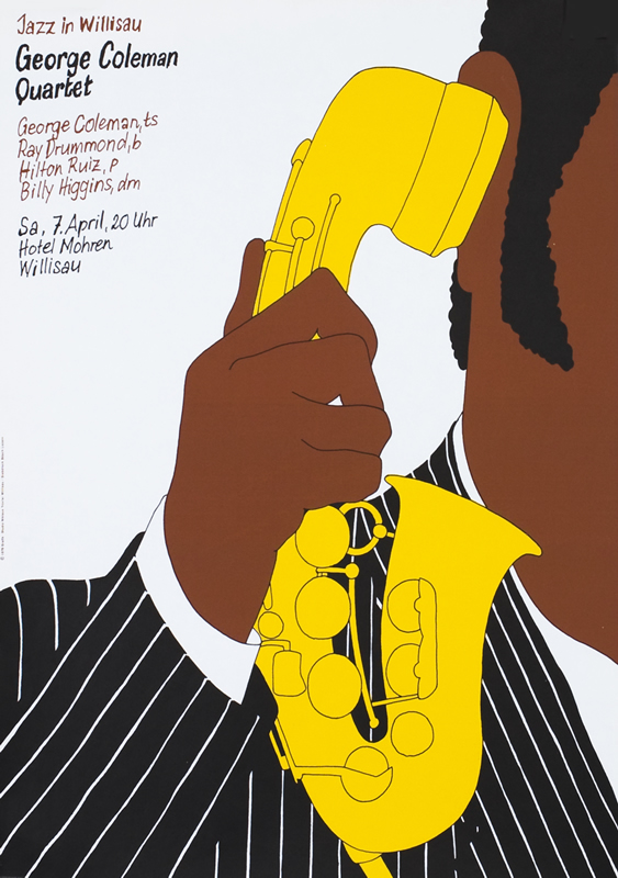 Man holds saxophone to ear like telephone; yellow, brown, black, white