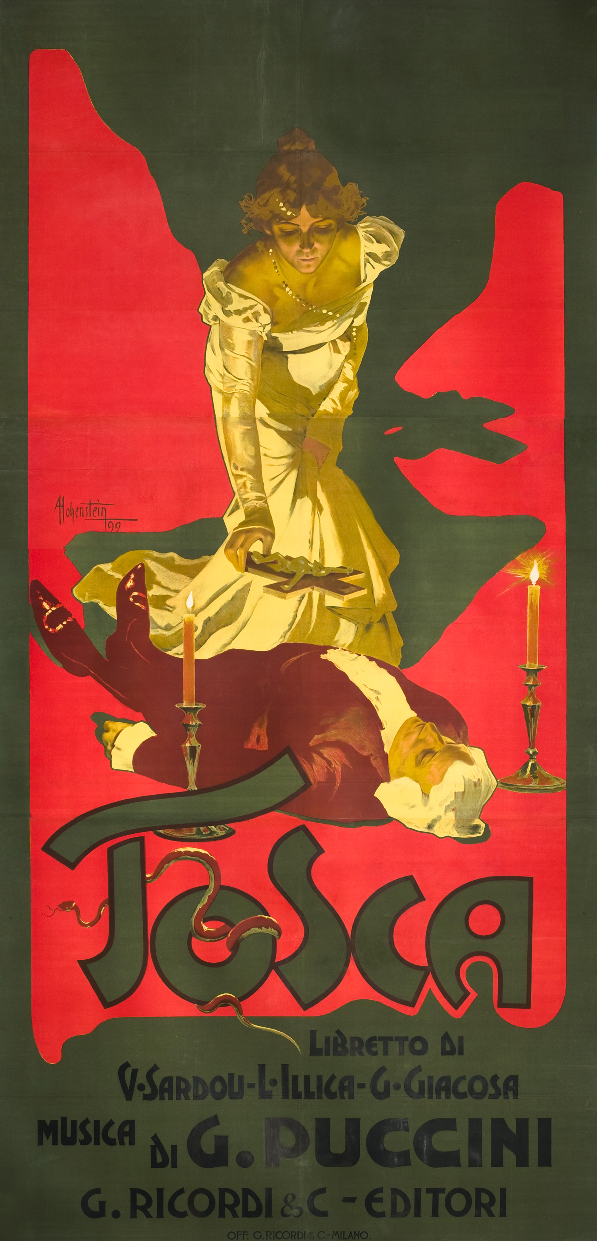 Hohenstein's  towering 1896 poster for Puccini's Tosca (10 feet tall) perfectly echoed the melodrama, passion and spectacle of the Italian opera.
