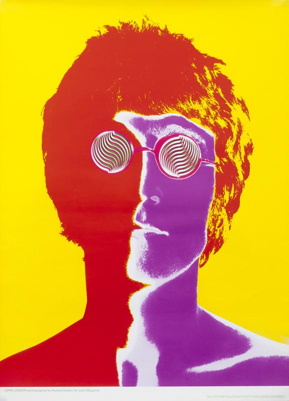 Psychedelic portrait of John Lennon; red, purple, yellow