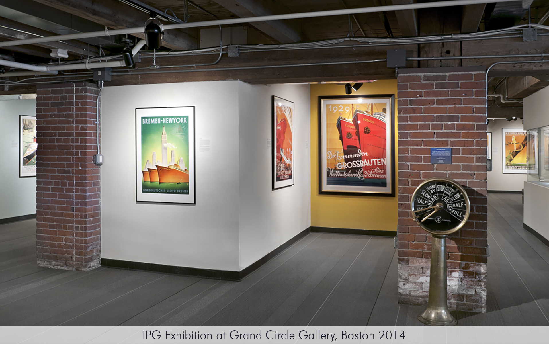 "IPG Exhibition ""Titans of the Sea"" on the history of ocean liner posters at the Grand Circle Gallery, Boston 2014."