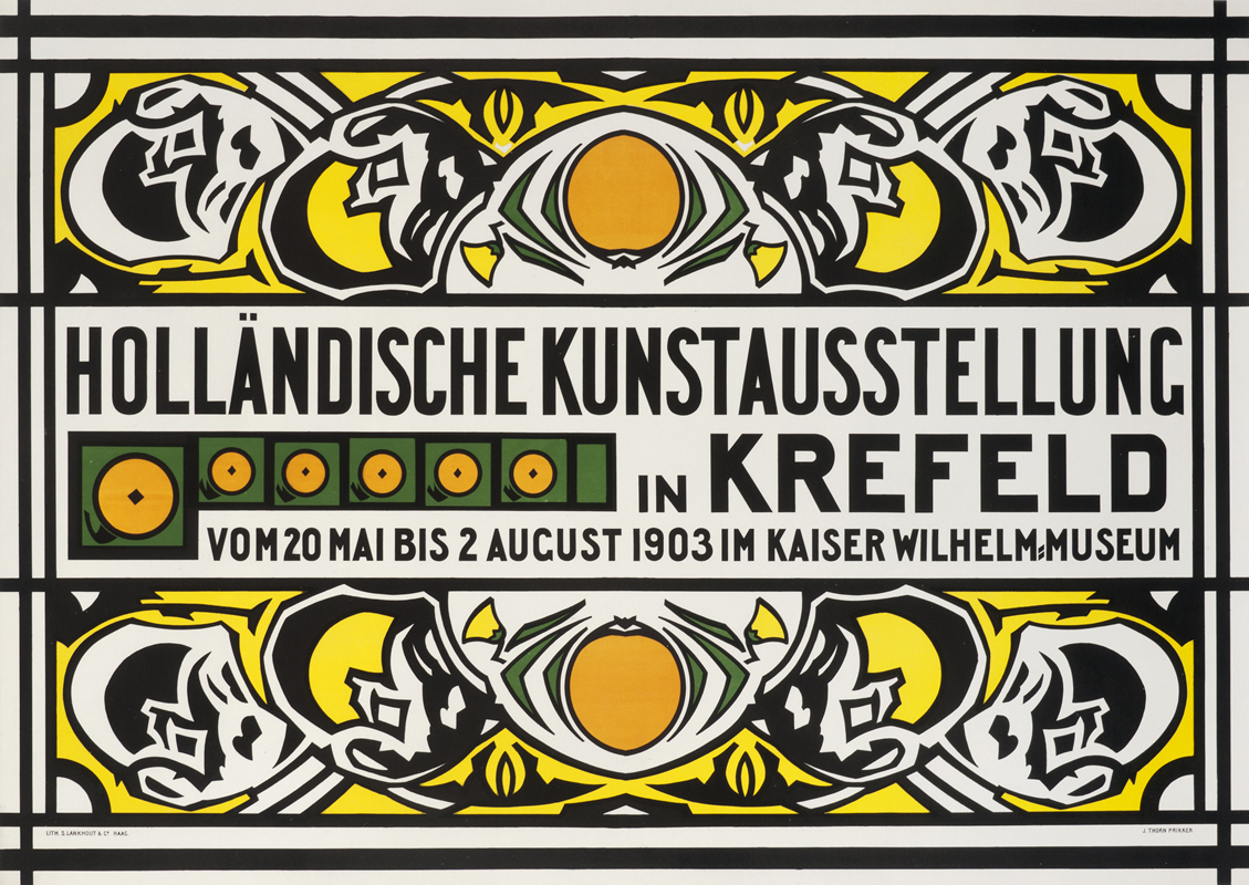 Intricate, horizontal geometric design for Dutch Art Exhibit; orange, yellow, black and green
