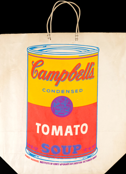 Technicolor Campbell's Tomato Soup can on paper bag; orange, pink, blue