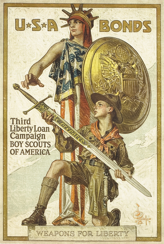 "Boy Scout holds sword marked ""Be Prepared"" in front of Liberty; red, gold"