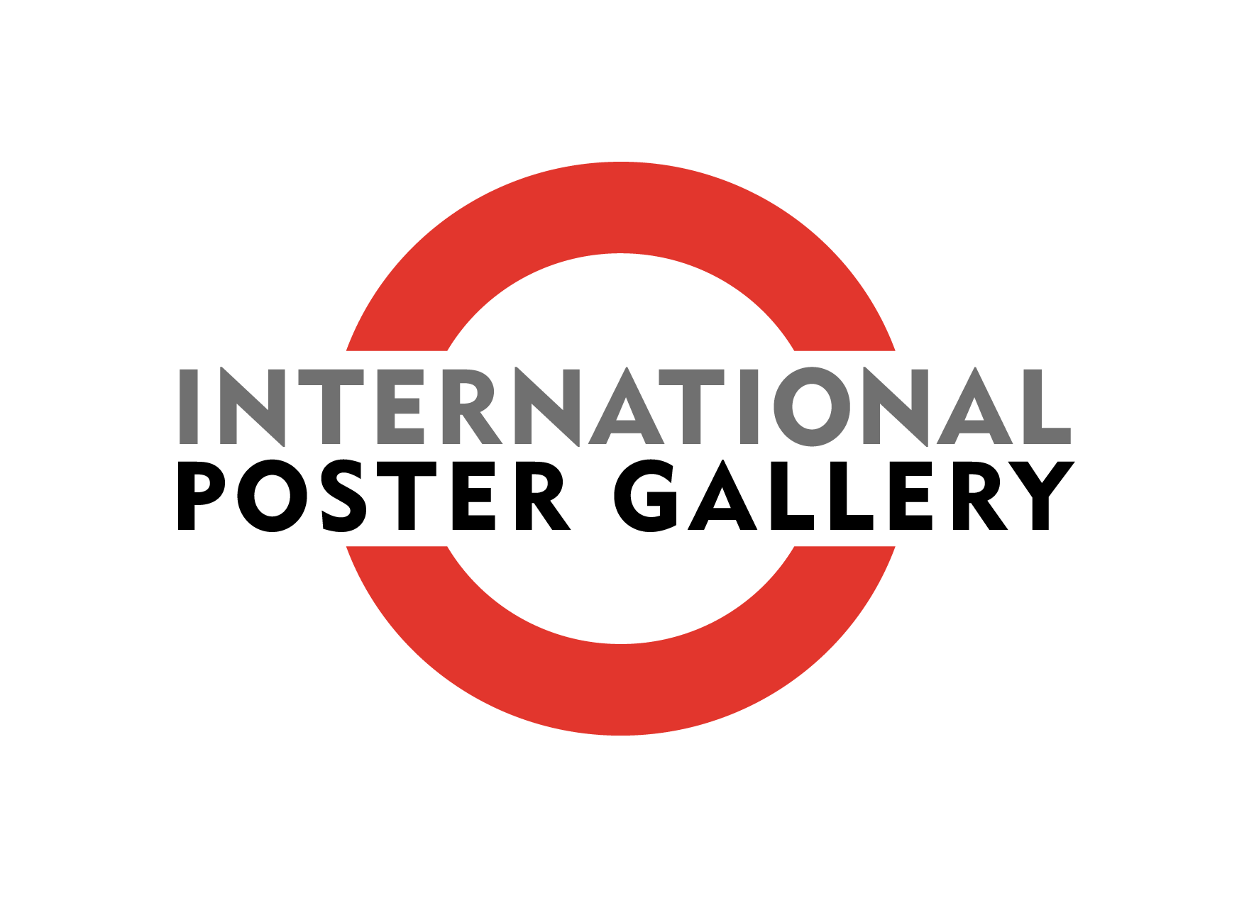 International Poster Gallery Logo; red, white, black