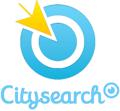 City Search logo; white, blue, yellow
