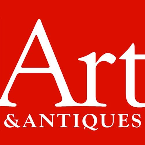 Art & Antiques Magazine Logo; white, red