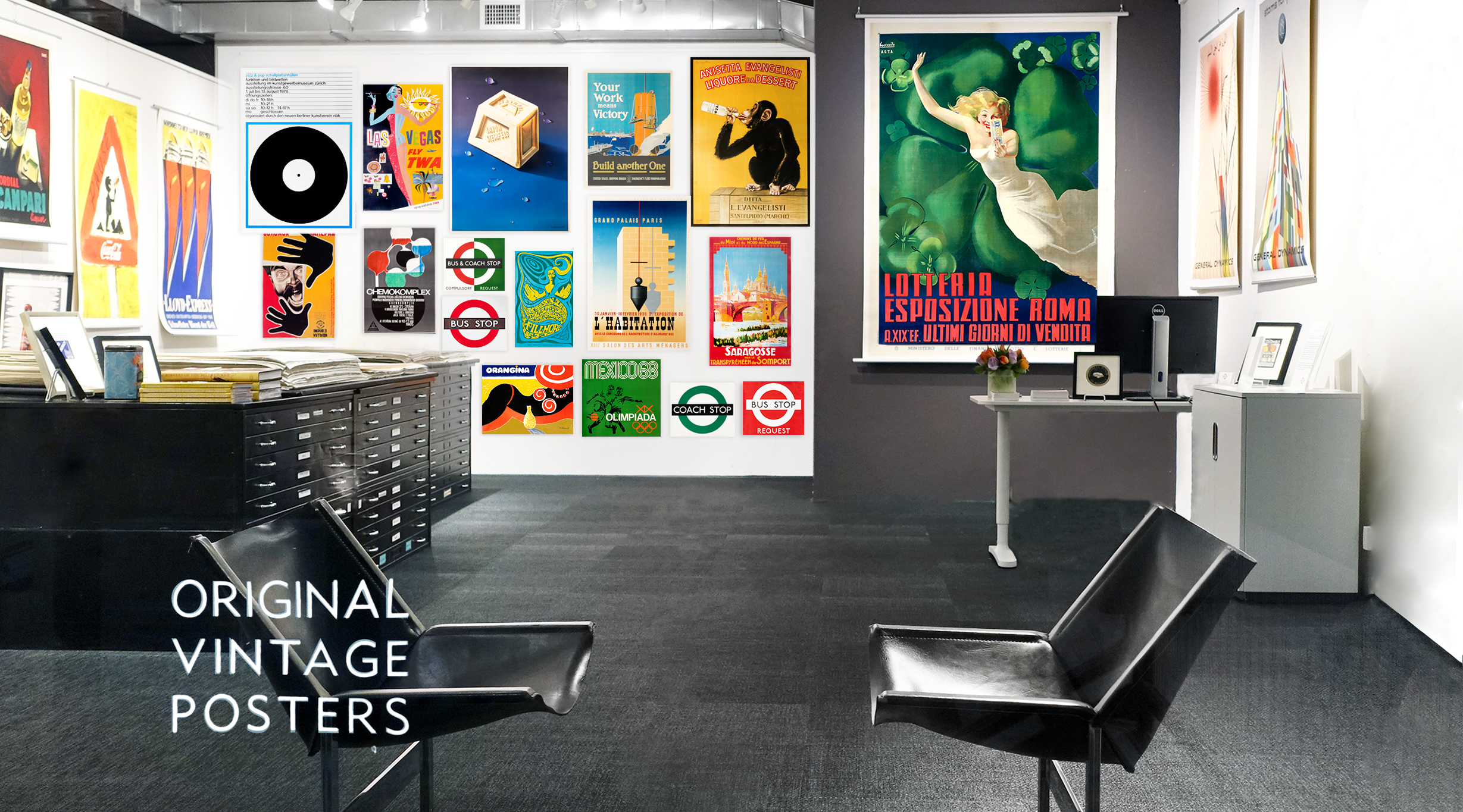 Photo of International Poster Gallery filled with vintage original posters