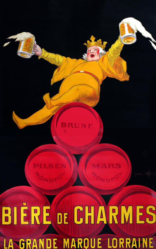 Jovial king sits atop beer cork barrels with an overflowing pint in each hand; red, black, yellow