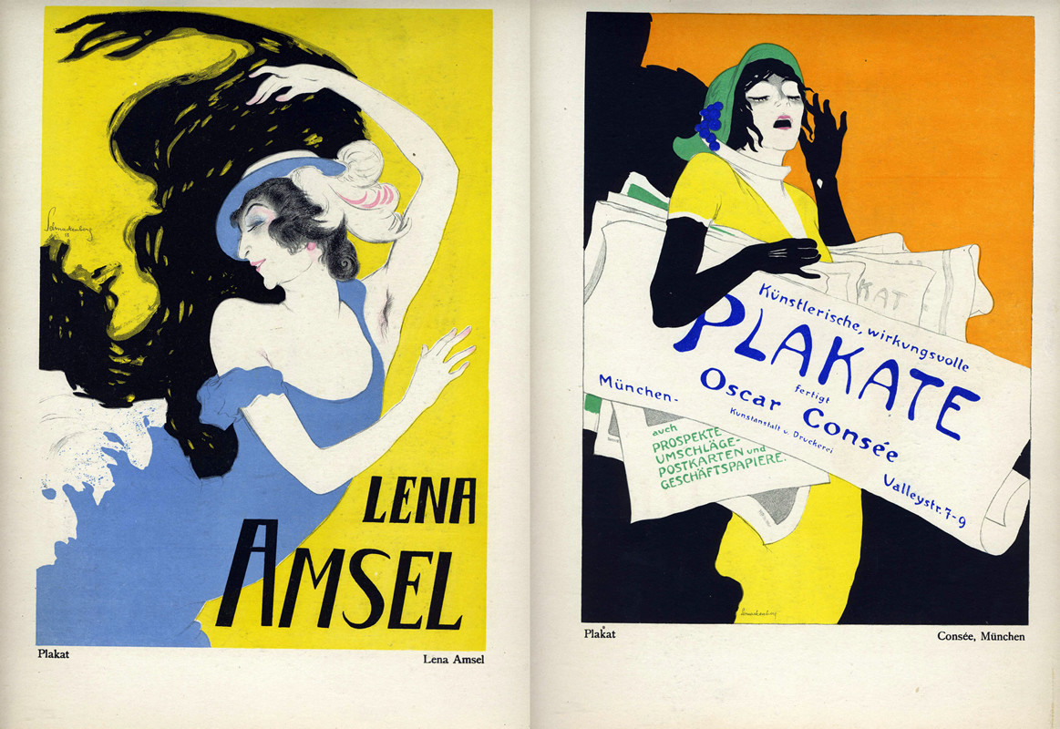 Lena Amsel in feathered hat, dancing/Woman shouting, selling posters in the street like newspapers; orange, yellow, black, blue