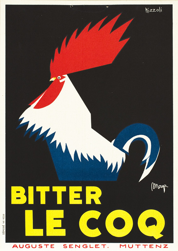 Rooster; black, white, red, blue