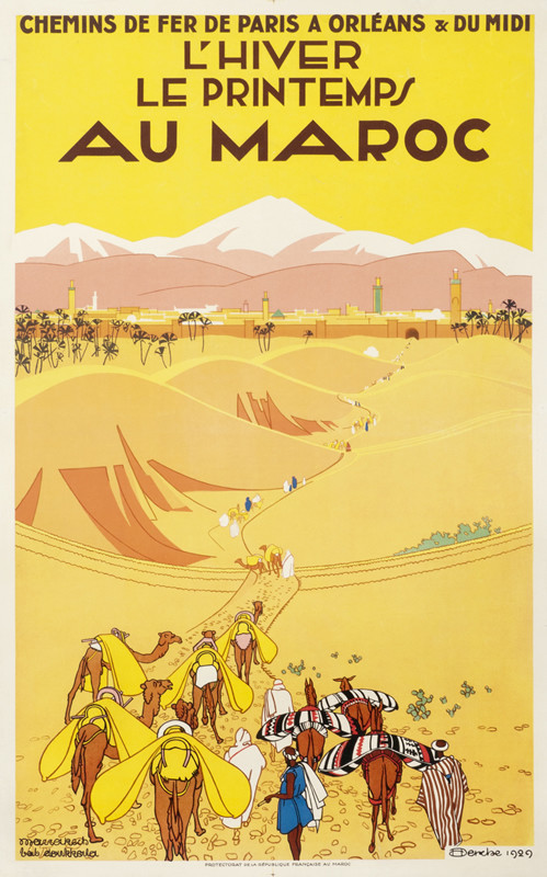 Caravan with camels heads towards city and mountains; yellow, orange, pink, blue