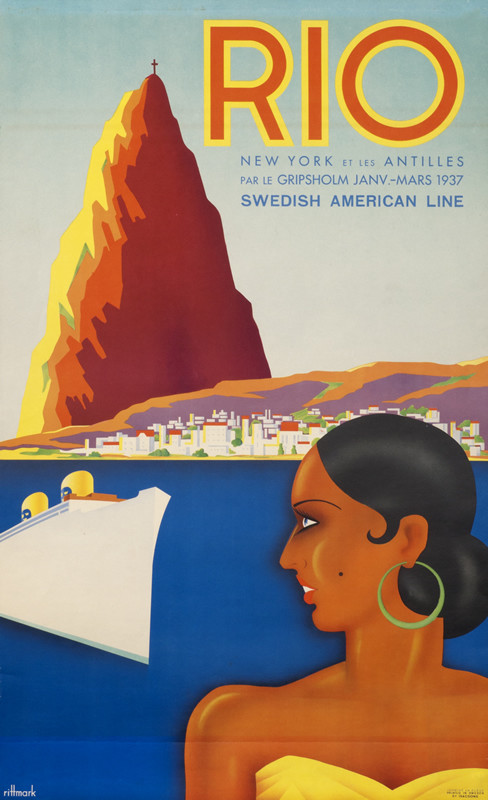 Brazilian Beauty with Gripsholm ocean liner and Sugar Loaf Mountain in distance; blue, yellow, red