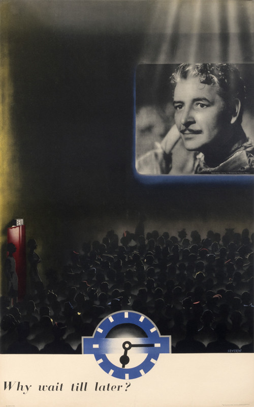 Man's face Ronald Colman on movie screen in movie theater; blue, black, white