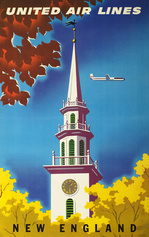 View of church steeple against autumn foliage, sky, airplane above; blue, brown, yellow, white