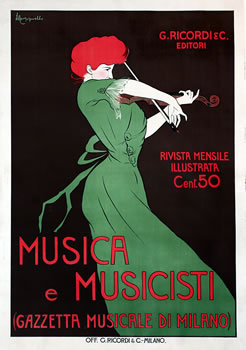 Woman plays violin; brown, green, red