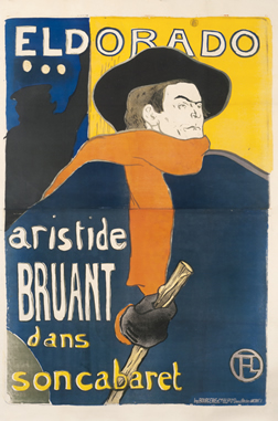 Aristide Bruant in front of theater with red scarf, cap & cane; red, blue, yellow, black