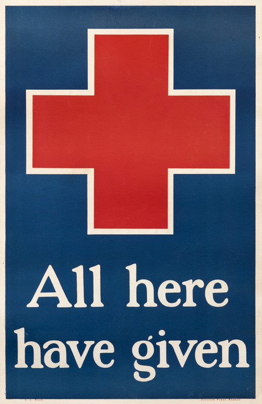 Red Cross, text; blue, red, white