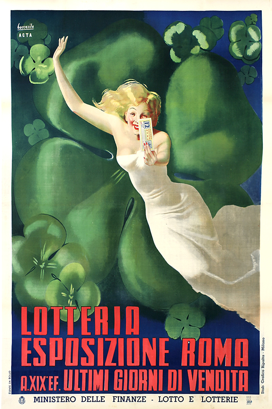Young woman in front of giant 4 leaf clover shows ticket; red, green, blue, white