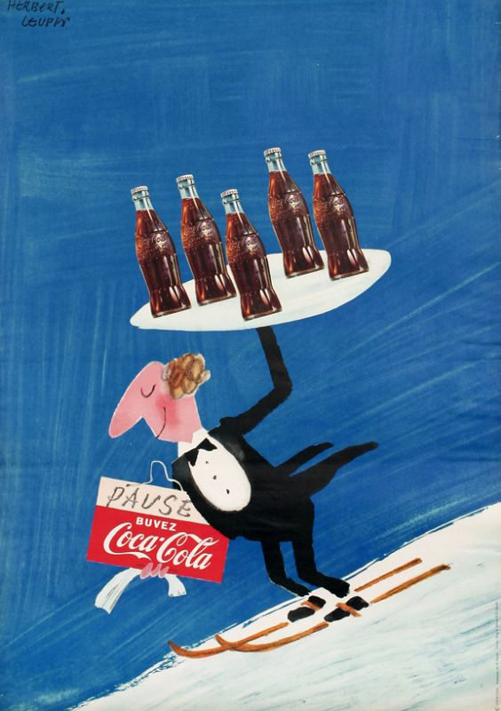 Waiter carries tray of Coke as he skis down slope; blue, black, red, white