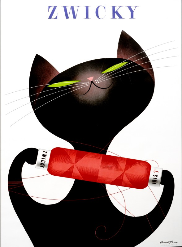 Black cat plays with spool of yarn; white, black, red
