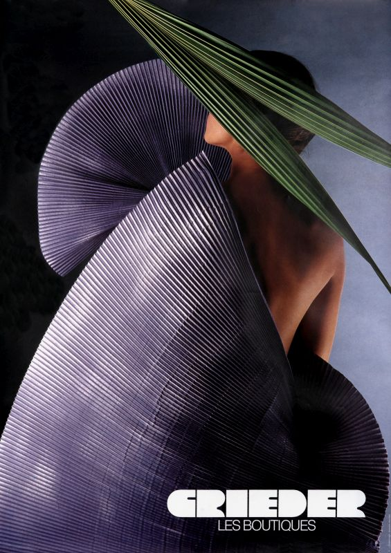 Woman wrapped in fan with leaf above; purple, green