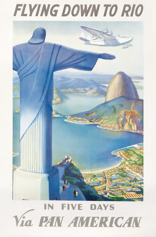 Clipper flies over bay of Rio, Sugarloaf and the statue atop Corcovado; blue, red, green