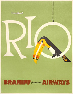 Toucan sits on letter 'O' of Rio, jet flies above; green, yellow, black