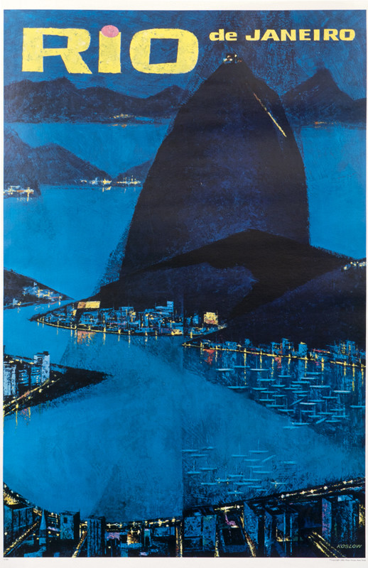 Sugarloaf mountain at night; blue, black