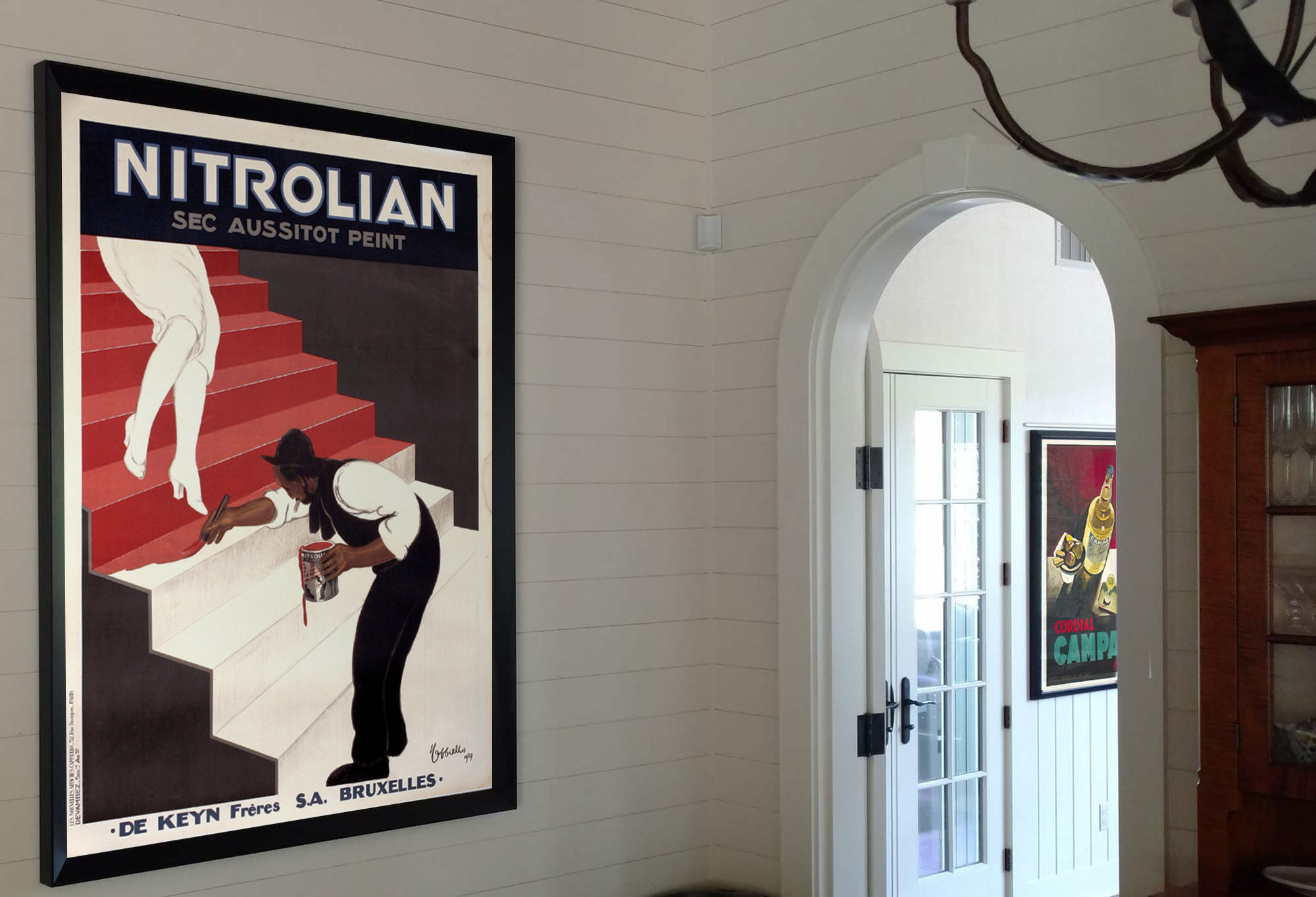Paint advertisement poster near doorway; red, white, black, yellow