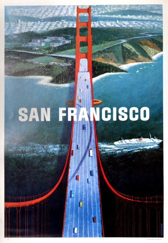 Aerial view of Golden Gate Bridge with ocean liner, view of city in distance; blue, red, green, white