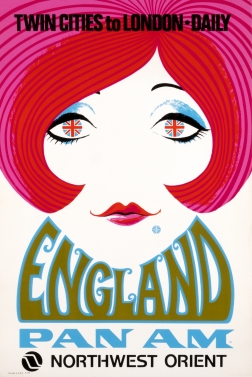 Woman's face with Union Jack eyes, Pan Am dimple; red, pink, blue, green