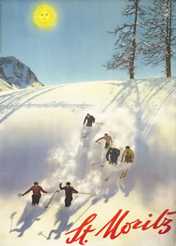 Six skiers ski down mountain, sun above; blue