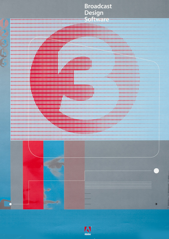 "Number ""3"" in square, man's face, abstract lines and pattern, Adobe logo; blue, red, white, gray"
