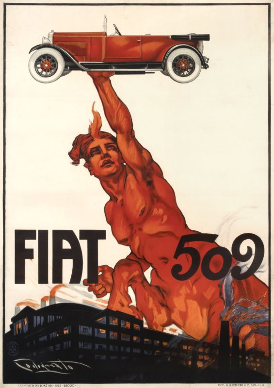Centaur holds up automobile Fiat 509 with Lingotto factory at bottom; red, black