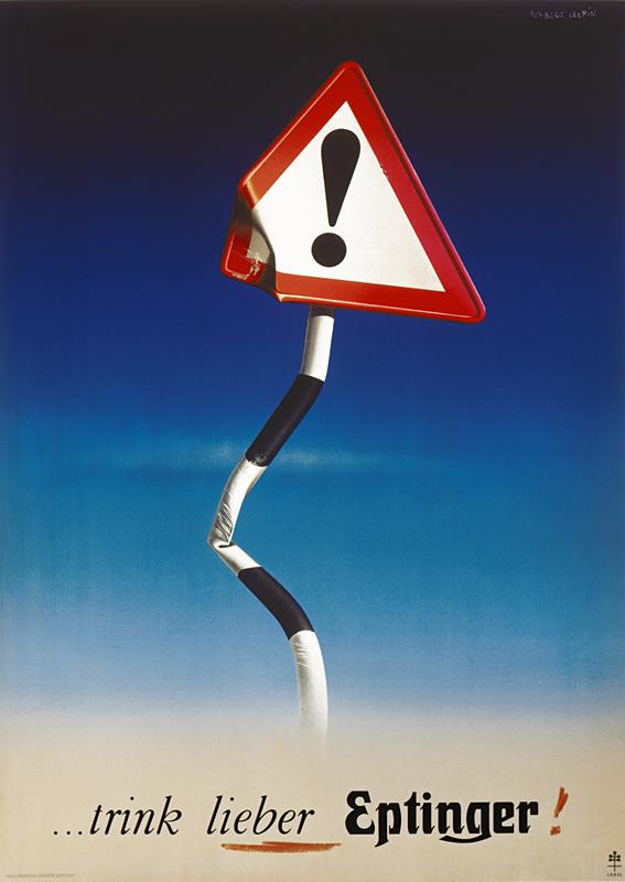 Bent danger sign; red, blue, black