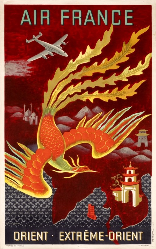 Fiery bird phoenix swooping over Asia with Constellation airplane above, monuments below; red, yellow, black, orange