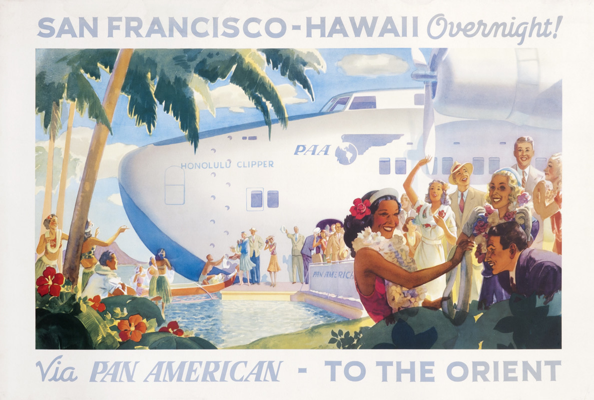 Boeing 314 Clipper Ship lands in Hawaii as natives greet Americans; blue, green, beige, white
